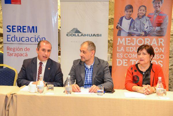 (De izquierda a derecha) Natan Olivos, Seremi Educación; Jaime Arenas, director ejecutivo Fundación Educacional Collahuasi; y Blanca Yáñez, coordinadora técnica del Congreso.